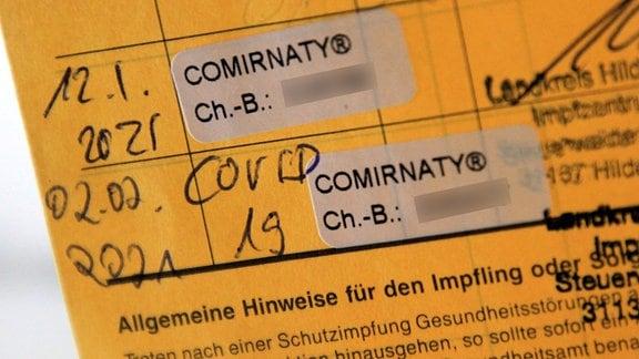 Impfpass mit erster und zweiter Corona-Impfung