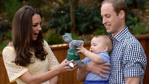 Kate, William und George im Taronga Zoo in Sydney