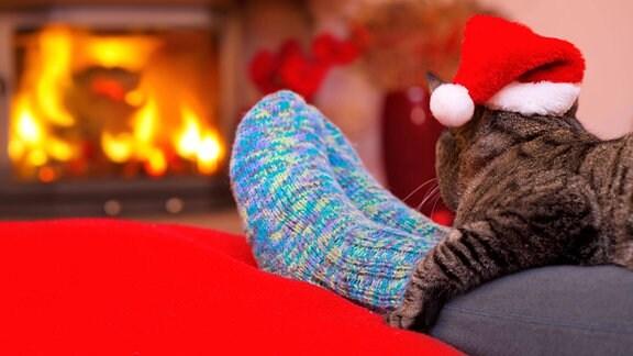 Symbolbild: kalte Füße - Eine Frau wärmt ihre Füße mit Wollstrümpfen, Kaminfeuer und einer Katze