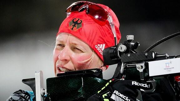 Biathletin Franziska Hildebrand tritt beim Frauenbiathlon über 10km im Alpensia Biathlon Zenter für Deutschland an.
