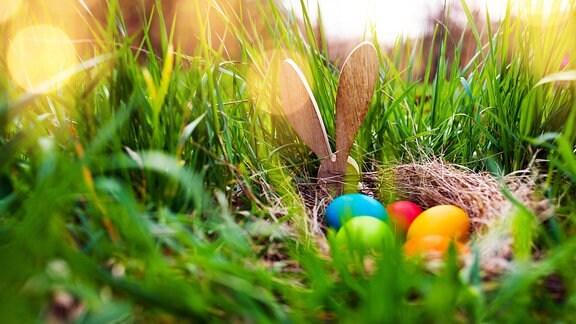Osternest im Gras mit Ostereiern.
