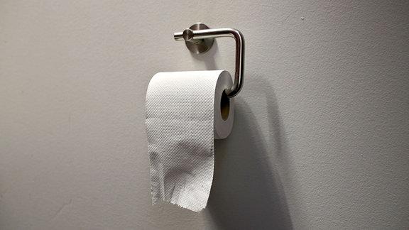 Eine Rolle Toilettenpapier hängt in einem Halter.
