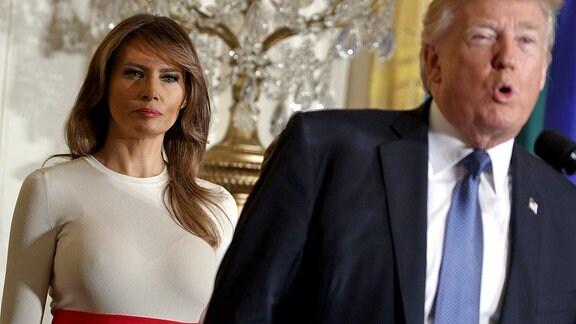 US-Präsident Donald Trump und die First Lady Melania Trump, aufgenommen am 06.10.2017 im Weißen Haus.