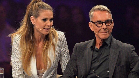 Heidi Klum, links - Wolfgang Joop, rechts beim Finale der zwölften Staffel der Castingshow Germany s Next Topmodel