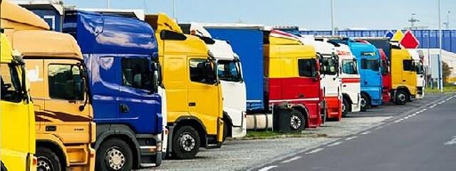 LKWs stehen auf einem Rastplatz an der Autobahn.