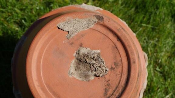 Ein Loch im Boden eines Tonblumentopfs wurde mit einer Scherbe und Leim verschlossen.