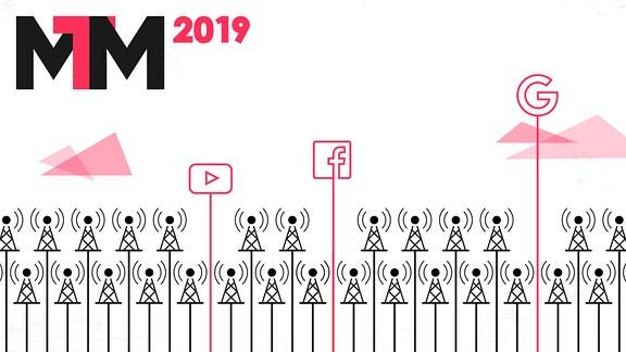 Zu sehen ist das Logo der MTM 2019. Außerdem wird symbolhaft dargestellt, wie YouTube, Facebook und Google aus einem Meer an intermediären Medien hervorsticht.