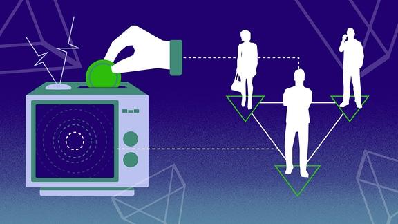 Hand wirft Münze in Fernsehapparat. Außerdem Silhouetten von drei Personen.