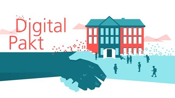 Die Teasergrafik zum Digitalpakt zeigt zwei Hände, die geschüttelt werden, sowie einige Schüler vor einer sich in Pixel auflösenden Schule