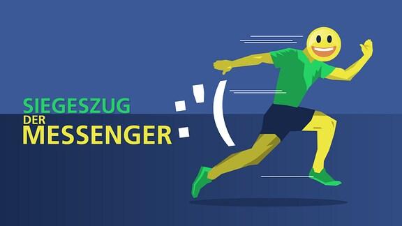"""Ein Mensch mit Emoji-Gesicht rennt rasend schnell einem traurigen Smilie davon. Der Titel """"Siegeszug der Messenger"""" ist im Hintergrund zu sehen."""