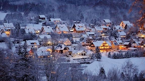 Schnee im Erzgebirge