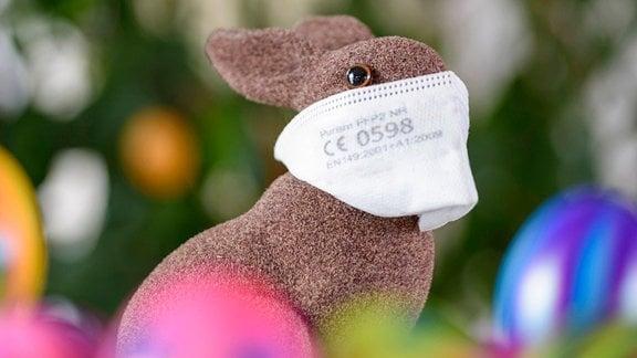 Hase mit FFP2-Maske
