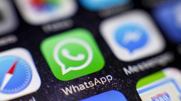 WhatsApp-Icon auf einem auf einem iPhone.
