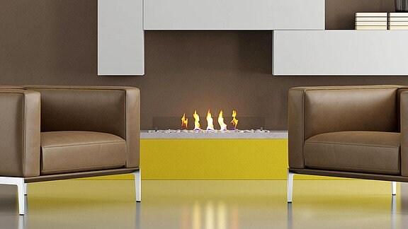 Ein Ethanol-Kamin in einem modernen Wohnzimmer.