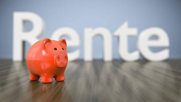Sparschwein vor dem Wort Rente.