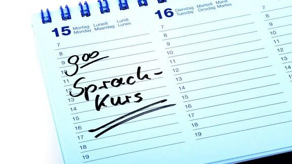 Eintrag 'Sprachkurs' in einem Kalender