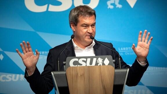 Der bayerische Ministerpraesident Dr. Markus Soeder hält bei der Wahlkampf-Endspurt-Kundgebung der CSU im Loewenbraeukeller in München eine Rede.