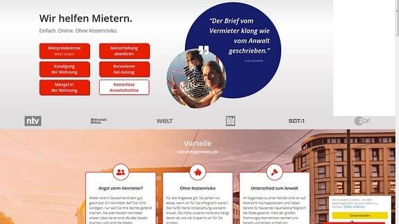 Screenshot vom Online-Portal www.wenigermiete.de