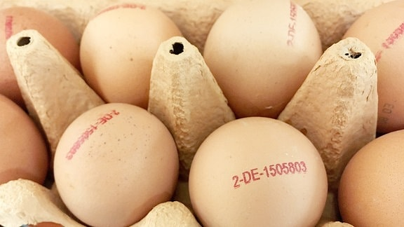 Eier aus dem Supermarkt, auf denen der Code zu lesen ist