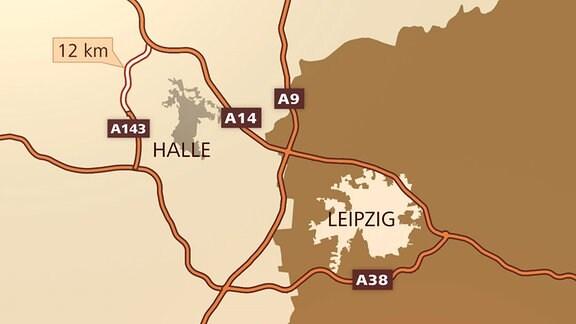 Grafische Darstellung der geplanten Streckenführung der A143.