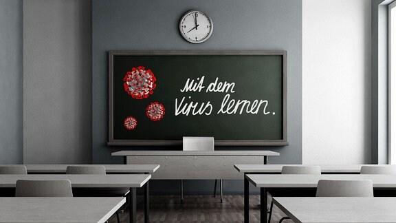 Ein Klassenzimmer, Blick zu einer Tafel auf der Viren gemalt sind