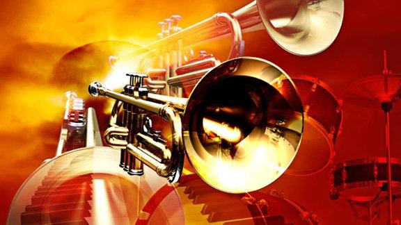 Stilisierte Trompeten, Schlagzeug und Klaviertastatur