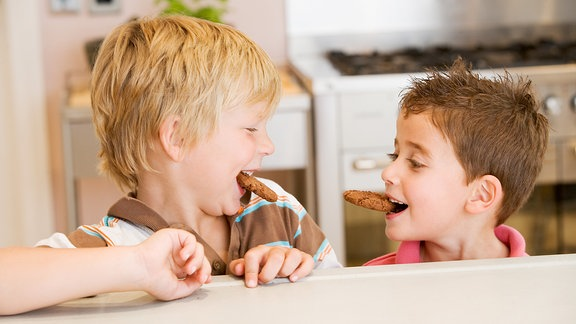 Zwei Jungen haben jeder einen Keks im Mund