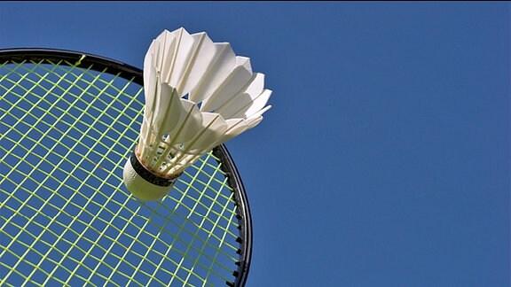 Ein Badmintonschläger und ein Federball