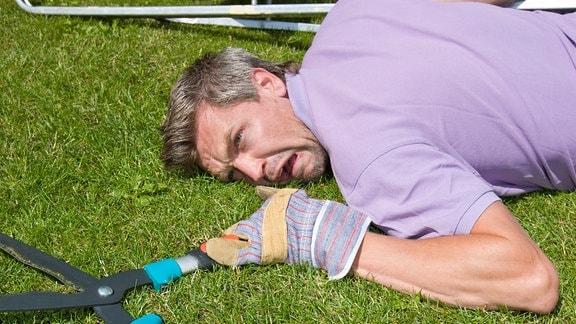Mann liegt mit schmerzerfülltem Gesicht und einer Heckenschere auf einer Wiese.