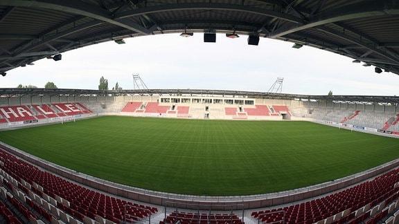 Leerer Erdgas-Sportpark in Halle