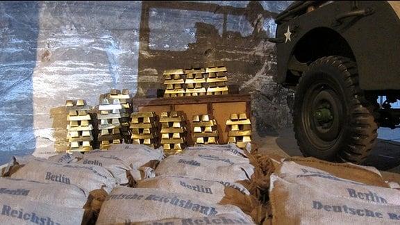 Goldbarren im historischen Goldraum in Merkers