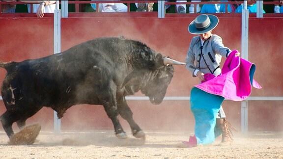 Spanischer Stierkämpfer kämpft mit einem Stier