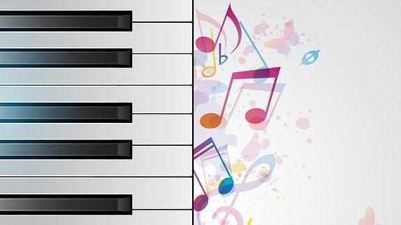 Grafik: Pianotastatur und Noten
