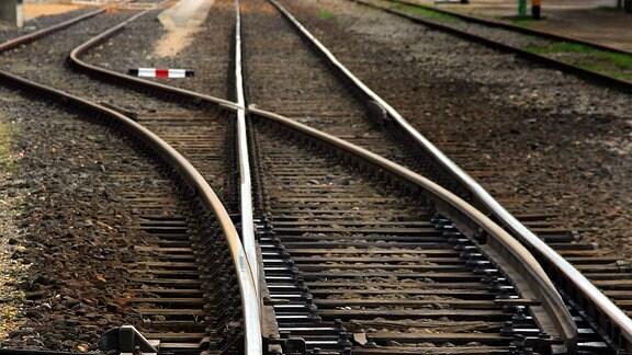 Eisenbahnschienen teilen sich nach einer Weiche.