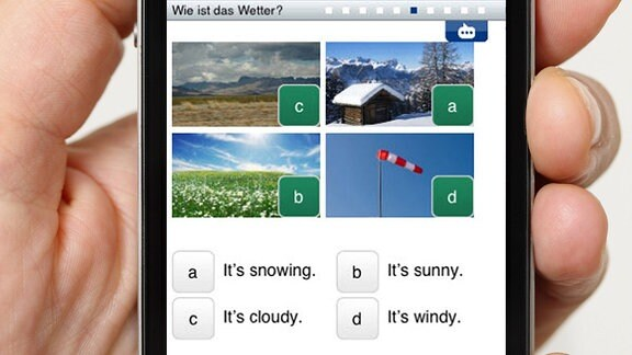 Eine App mit einem Bilderrätsel zum Englischlernen