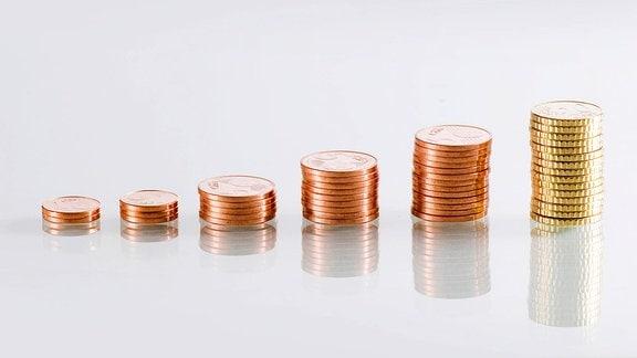 ansteigende Münzen