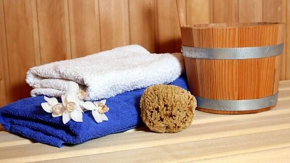 Handtücher für die Sauna.