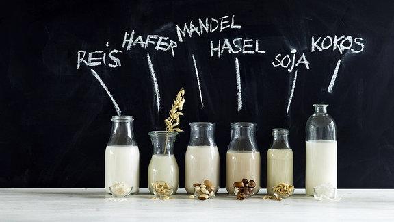 Verschiedene Sorten veganer Pflanzenmilch in Glasflaschen