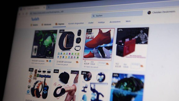 Website des chinesischen Onlinehändlers Wish