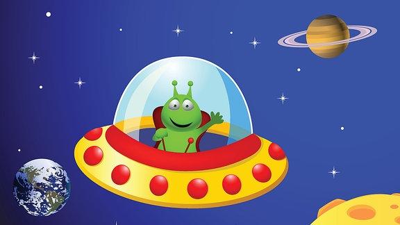 Illustration eines Außerirdischen in einem Raumschiff