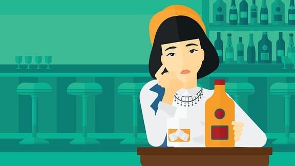 ein anmiertes Bild mit einer Frau am Tisch auf dem eine angedeutete Flasche Alkohol steht