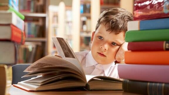 Junge itzt lesend in einer Bibliothek