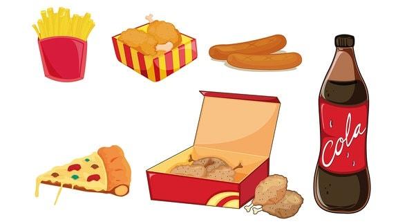verschiedene Fast-food-Lebensmittel