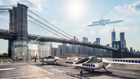 Visualisierung eines Flugtaxi-Landeplatzes am Fuße der Brooklyn Bridge in New York City.