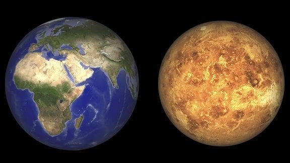 Erde und Venus ohne ihre Athmosphären