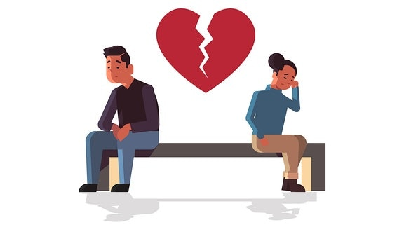 Illustration eines Mannes und einer Frau sowie eines gebrochenen Herzens