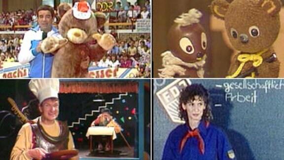 Sechs verschiedene Ausschnitte aus dem DDR-Kinderfernsehen: Adi in Machs mit machs nach machs besser, Pittiplatsch aus dem Märchenland, Gixgax, Brummkreisel, Mibil und Ellentie