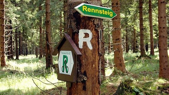 Ein Schild verweist auf den Rennsteig im Thüringer Wald